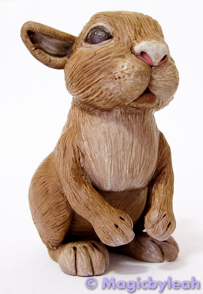 Brown Bunny Polymer Clay Sculpture 1