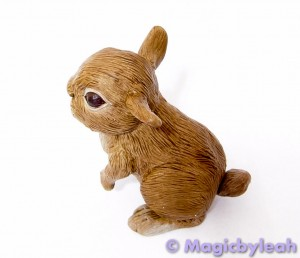 Brown Bunny Polymer Clay Sculpture left