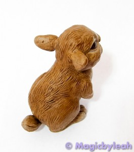 Brown Bunny Polymer Clay Sculpture right