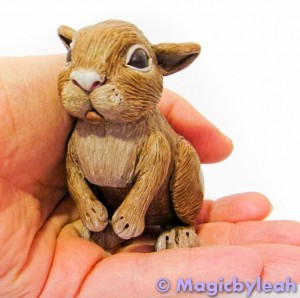 Curious Brown Bunny Polymer Clay Sculpture
