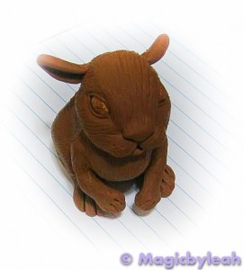 Brown Bunny polymer clay Sculpture baked