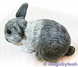Polymer Clay Dutch Bunny first paint layer
