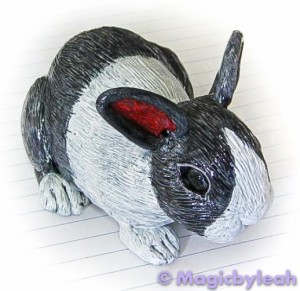 Polymer Clay Dutch Bunny second paint layer 2