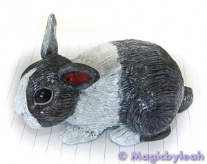Polymer Clay Dutch Bunny second paint layer