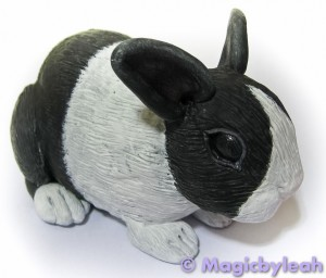Polymer Clay Dutch Bunny third paint coat