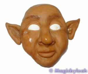 Painting polymer clay reference face acrylic paint wash