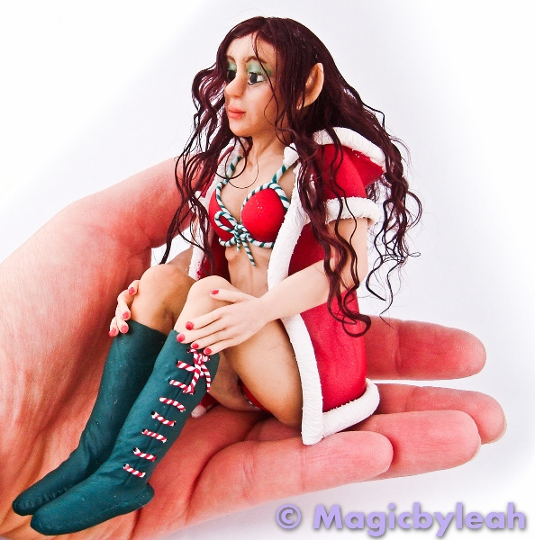 Polymer Clay Christmas Elf hand side