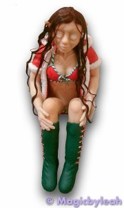 Polymer Clay Christmas Elf wet hair