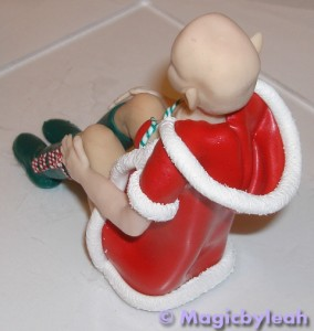 Polymer clay christmas elf back left jacket