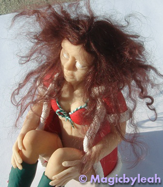 polymer clay elf frizzy hair top view