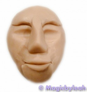 polymer clay reference face basic features added