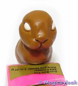 Brown Clay Rabbit head and body front