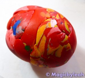 scrap clay tutorial mixing scraps into a ball