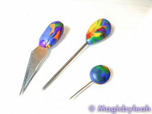 Polymer Clay Rainbow Sculpting Tools covered in scrap clay