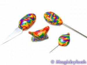 Polymer Clay Rainbow Sculpting Tools ready to bake