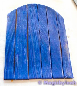 blue wood fairy door completed blue polymer clay wooden door