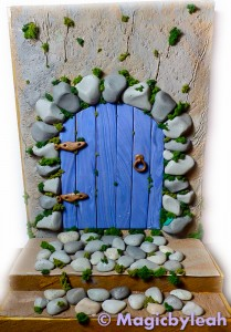 Fairy Door Bookend adding moss to clay