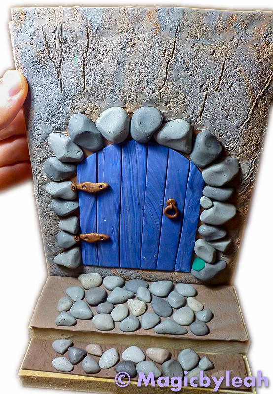 ... Fairy Door Bookend measuring clay to wood & Polymer Clay Fairy Door Bookend With Rocks and Moss