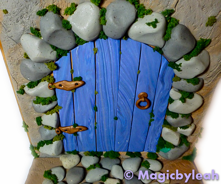 Fairy Door Bookend with rocks and moss & Polymer Clay Fairy Door Bookend With Rocks and Moss