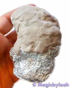 Rock Troll Polymer Clay Paperweight covering foil core