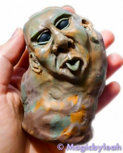 Rock Troll Polymer Clay Paperweight face complete