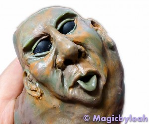 Rock Troll Polymer Clay Paperweight face up close