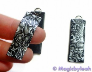 Black Mokume Gane Polymer Clay round earrings