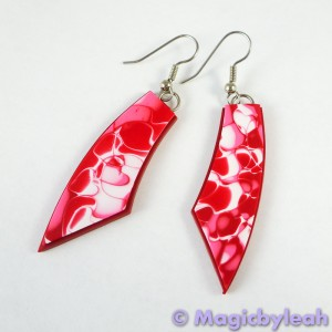 Valentine Hearts Polymer Clay Mokume Gane Earrings long