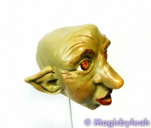 Polymer Clay Female Troll painted face side