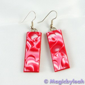 Valentine Hearts Polymer Clay Mokume Gane Earrings rectangle