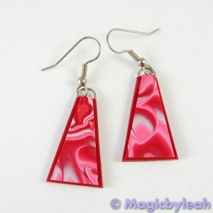 Valentine Hearts Polymer Clay Mokume Gane Earrings Triangle