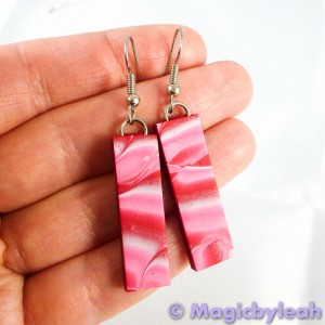 Valentine Hearts Polymer Clay Mokume Gane Earrings red pink