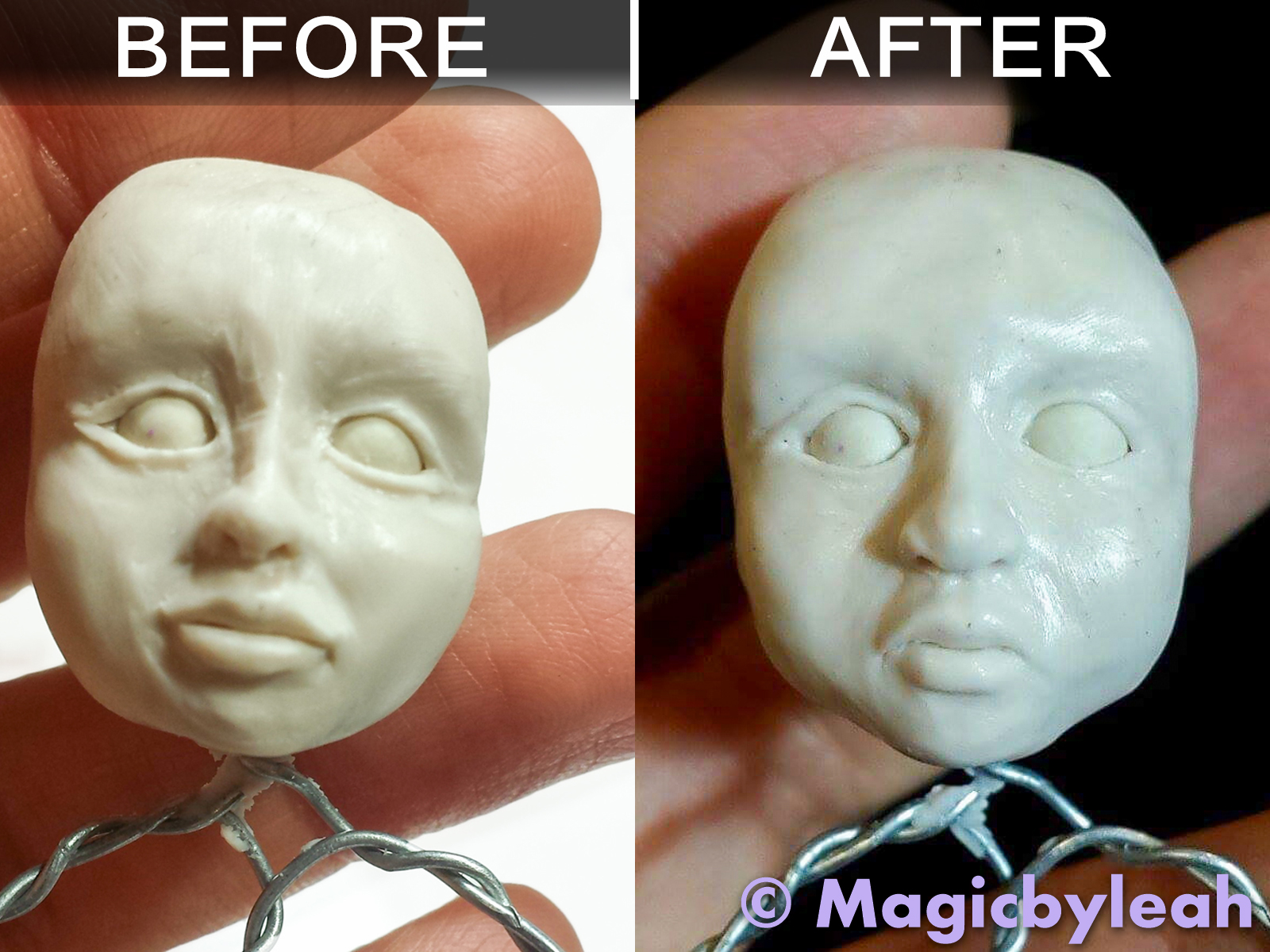 Before and After Pics sculpting the face in polymer clay