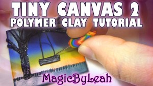Tiny Canvas Polymer Clay Tutorial Video Tree Swing in Sunset