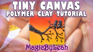 Tiny canvas polymer clay tutorial sunset birds branch by magicbyleah